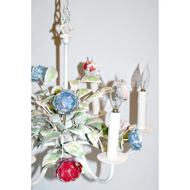 Shabby Chic Vintage Shabby Chic Floral Tole Chandelier For Sale - Image 3 of 4