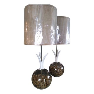 Mid-Century Modern Cork Lamps - A Pair For Sale