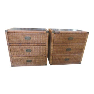 Island Style Rattan Chests of Drawers - A Pair