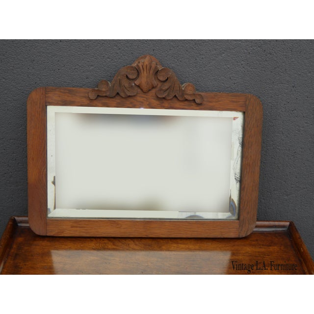 Antique Mid-Century Modern Federal Rustic Beveled Edge W Aged Silver Wall Mirror For Sale - Image 13 of 13