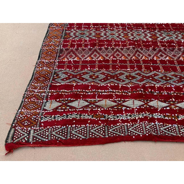 Textile Moroccan Vintage Ethnic Textile with Sequins North Africa, Handira For Sale - Image 7 of 13