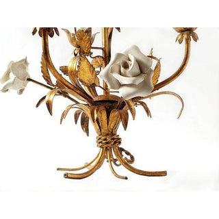1920's Vintage French Toleware 3 Lite Chandelier Preview