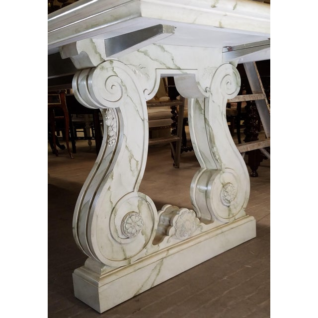 Contemporary Vintage Faux Marble Grecian Dining Table For Sale - Image 3 of 7
