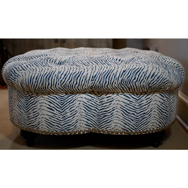 Metal Kravet Upholstered Contemporary Tufted Oversized Round Ottoman Walnut Legs Animal Zebra Blue Cream Nailheads For Sale - Image 7 of 11