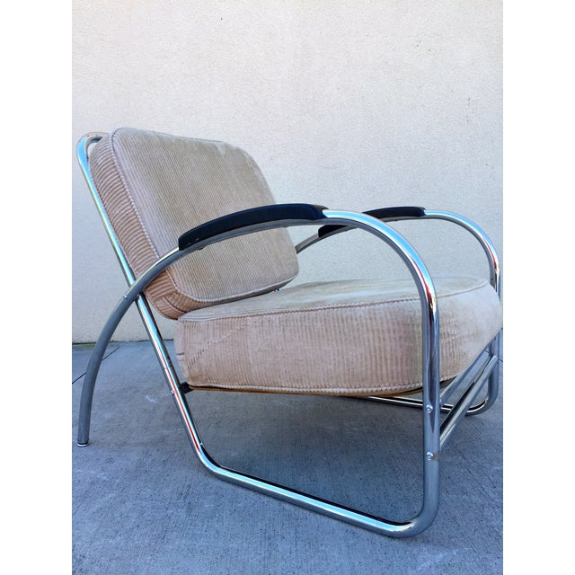 Kem Weber Style Deco Chrome Chair by Royal Metal For Sale - Image 4 of 11