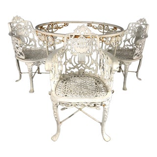 Antique Neoclassical Cast Iron Garden Armchairs and Table -Set of 4 For Sale