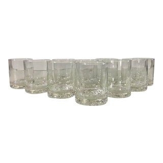 Vintage Low Glass Tumblers With Bubble Bottoms, Set of 10 For Sale