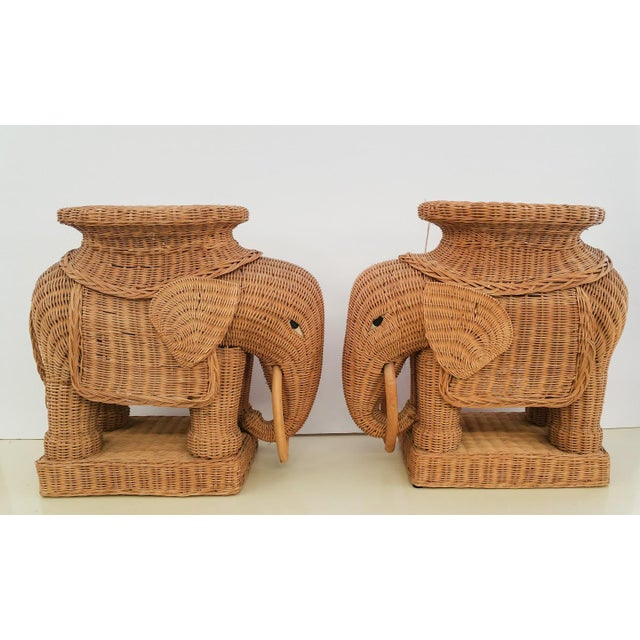 Hollywood Regency Wicker Elephant - A Pair - Image 3 of 6