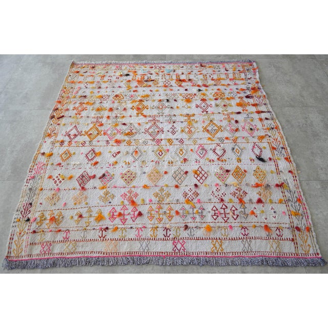 "1940s Antique Anatolian Braided Rug Hand Woven Cotton Small Rug Sofreh - 4' X 4'3"" For Sale - Image 5 of 10"