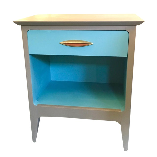 Mid Century Modern Color Blocked Side Table - Image 1 of 4