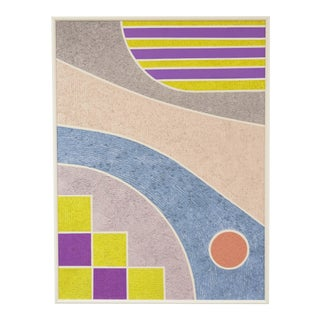 1988 Art Deco Revival Style Geometric Mixed-Media Painting, Framed For Sale