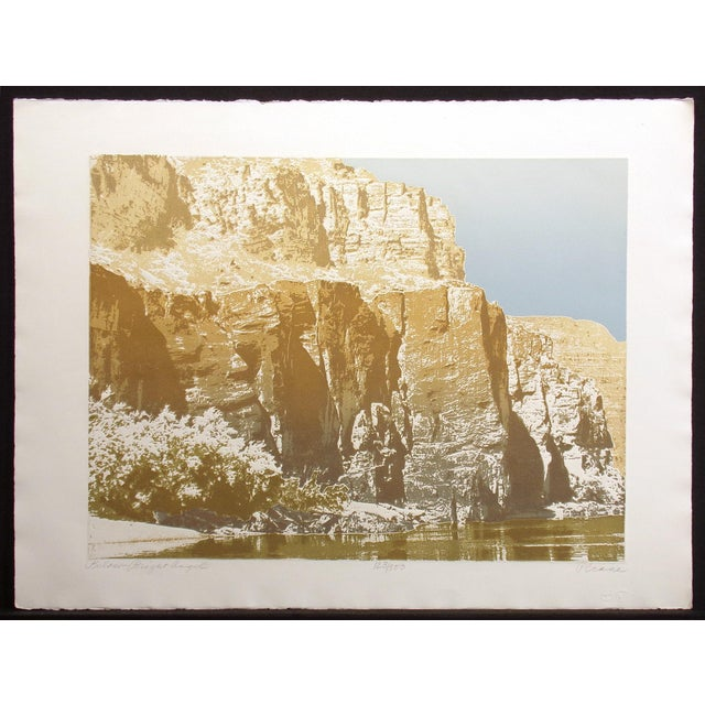 Realistic unframed limited edition etching art print of a canyon and river. Hand signed, titled and numbered by the artist...