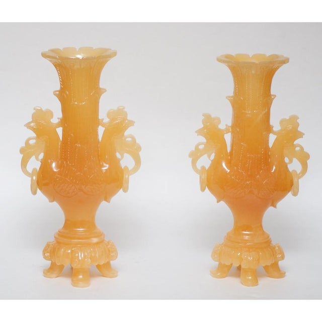 Peacock Nephrite Jade Vases - A Pair For Sale - Image 4 of 10