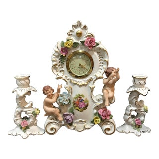 1950s Vintage Porcelain Angels Dresden Clock With Two Matching Candlesticks - Set of 3 For Sale