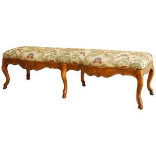 19th Century French Provincial Carved Walnut Bench