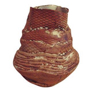 Abstract Ceramic Vase With Snake Design For Sale