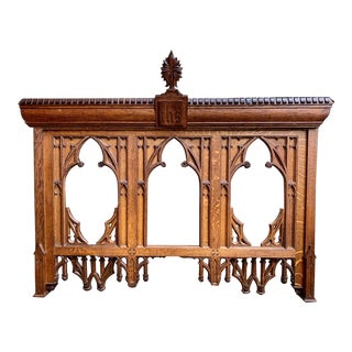 19th Century French Carved Oak Altar Wall Hanging Gothic Architectural Church Chapel For Sale