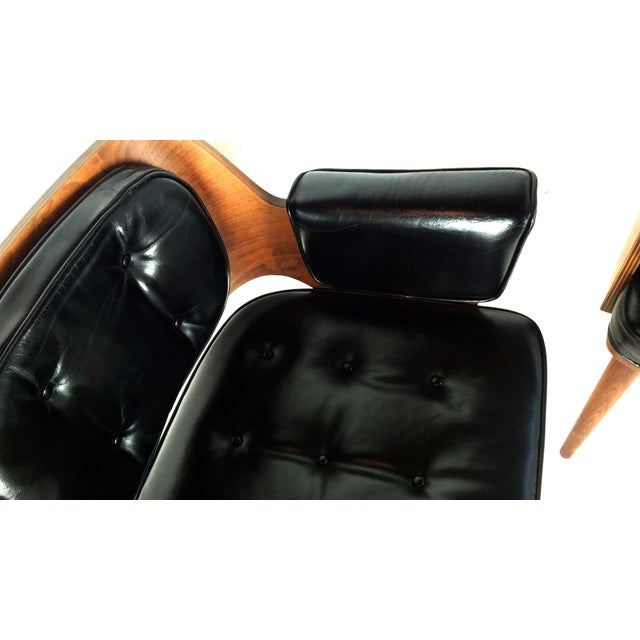 Mid-Century Danish Leather & Walnut Lounge Chairs - A Pair - Image 8 of 10