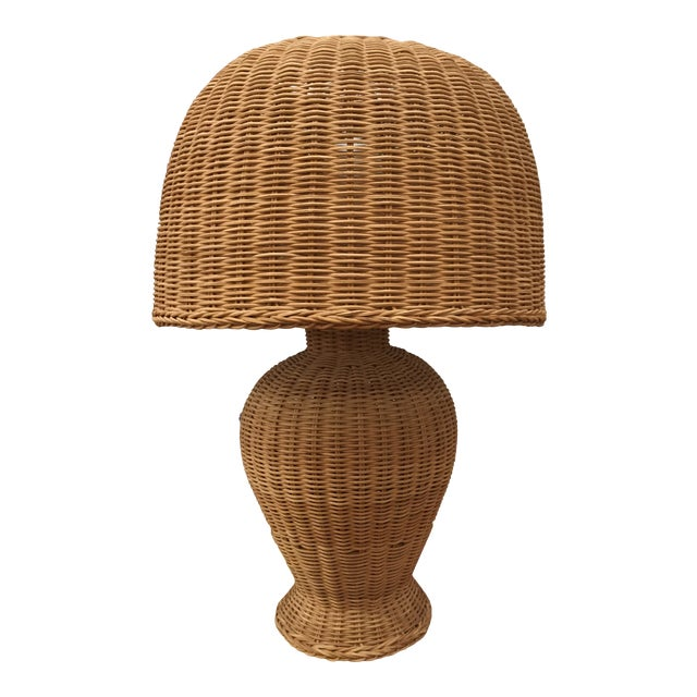 1960s Vintage Wicker Lamp and Shade For Sale