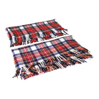Vintage Plaid Wool Blanket Throws - A Pair For Sale
