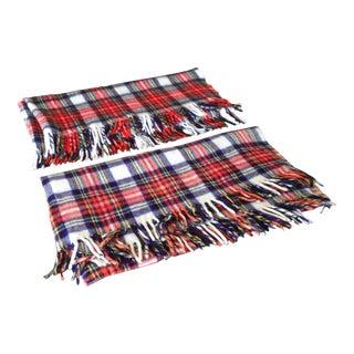 Vintage Plaid Wool Blanket Throws - A Pair