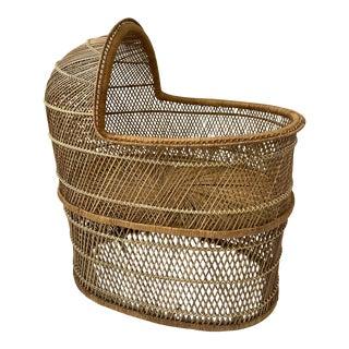 Vintage Bohemian Rattan Bassinet Crib For Sale