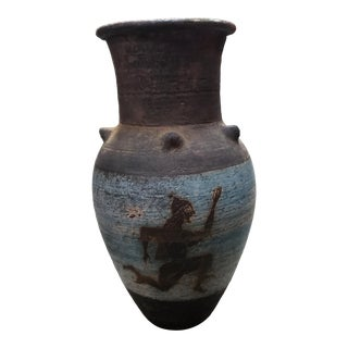 Mid 20th Century Greek Terracotta Baluster Vase With Perseus and Goat Motif For Sale