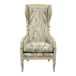 Early 20th Century French Empire Neoclassical Style Marble Fabric Wing Back Chair For Sale