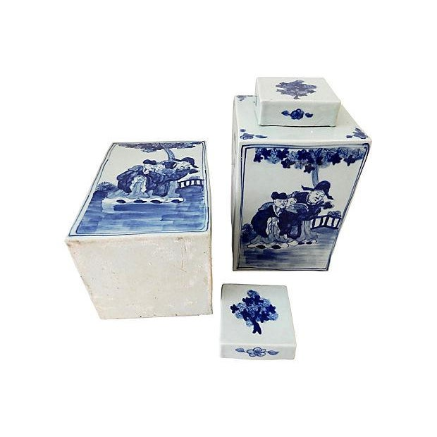 Square Blue White Vases S2 Chairish