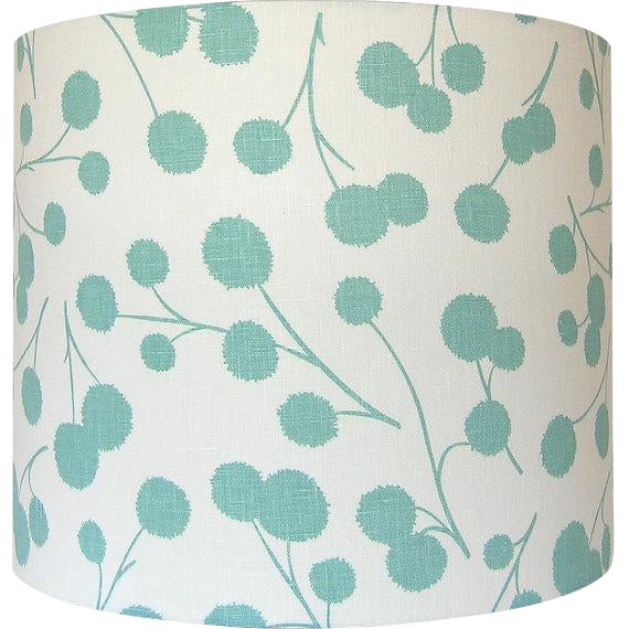 New, Made to Order, Large Drum Shade, Kravet's Burnet Fabric in Ocean - Image 3 of 3