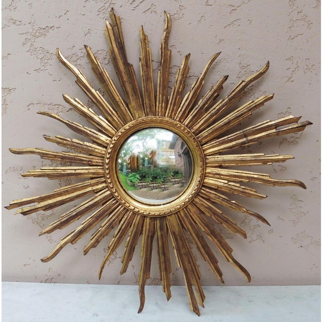 French Convex Sunburst Gilded Wood Mirror For Sale In Austin - Image 6 of 6