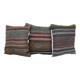 Vintage Turkish Kilim Pillows - Set of 3 For Sale