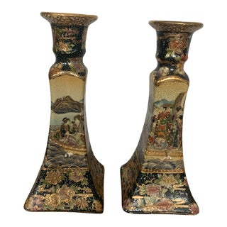 Vintage Hand Painted Moriage Satsuma Candlestick - a Pair For Sale