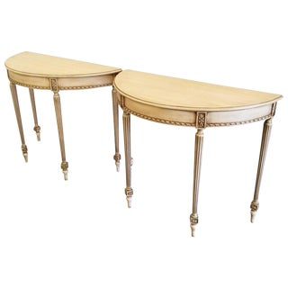 Pair of Hollywood Regency Demilune Tables For Sale