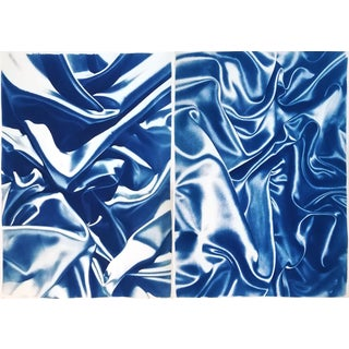Late Night Adventurous Duo (Of Silks), Classic Blue Handprinted Cyanotype on Watercolor Paper, Limited Edition For Sale