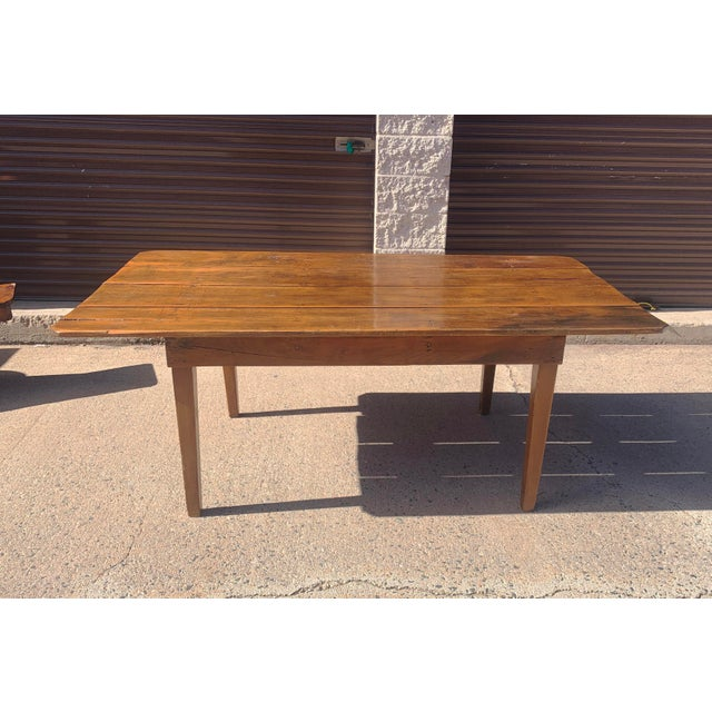 Authentic barn wood 4 plank top dining table. Great for table for farmhouse or rustic modern decor. Handmade by a...