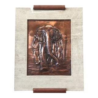 Mid Century Copper Hammered Framed Elephant Art