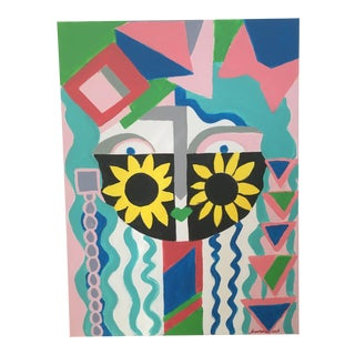 "Original Abstract ""Sunflower"" Acrylic Face Painting For Sale"