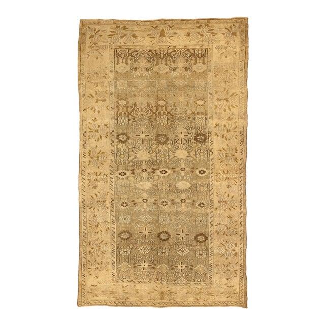 Antique Persian Bijar Rug With Brown & Beige Floral Details- 4′10″ × 8′3″ For Sale