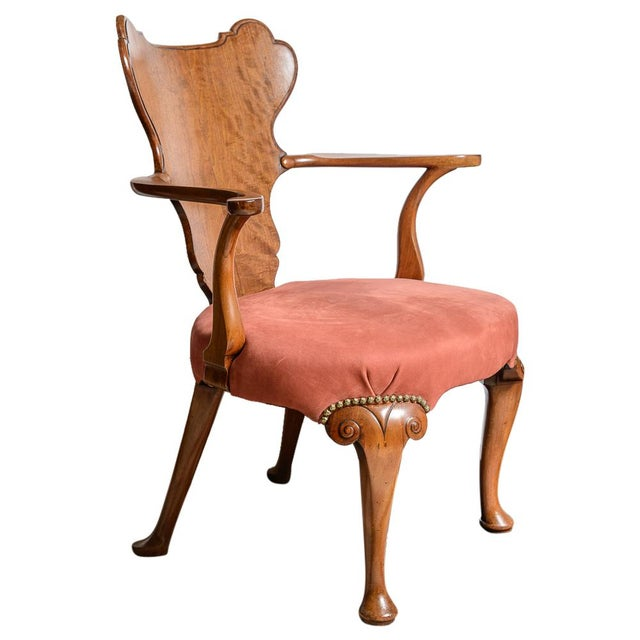 Irish Walnut Library Chair For Sale - Image 9 of 9