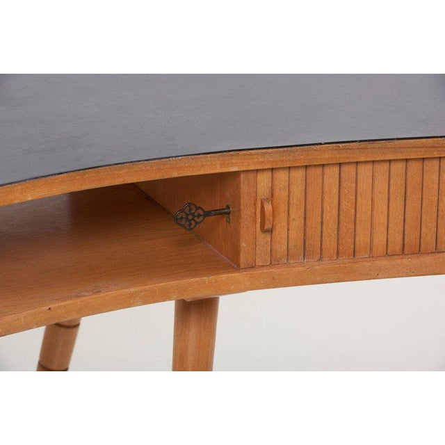 Wood Light 1950s Ladies Desk or Vanity With Tambour Door Attributed to Eduard Ludwig For Sale - Image 7 of 13