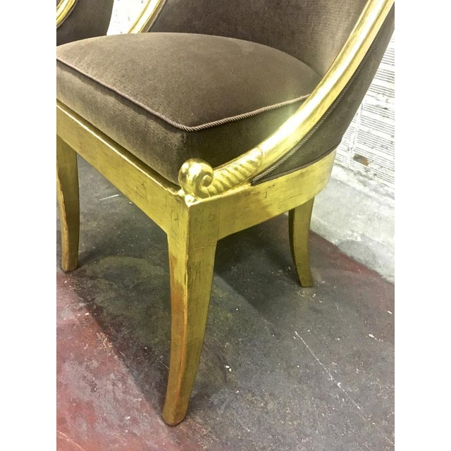 1920s Maurice Dufrene Refined Empire Inspired Gold Leaf Wood Pair of Side Chairs For Sale - Image 5 of 8