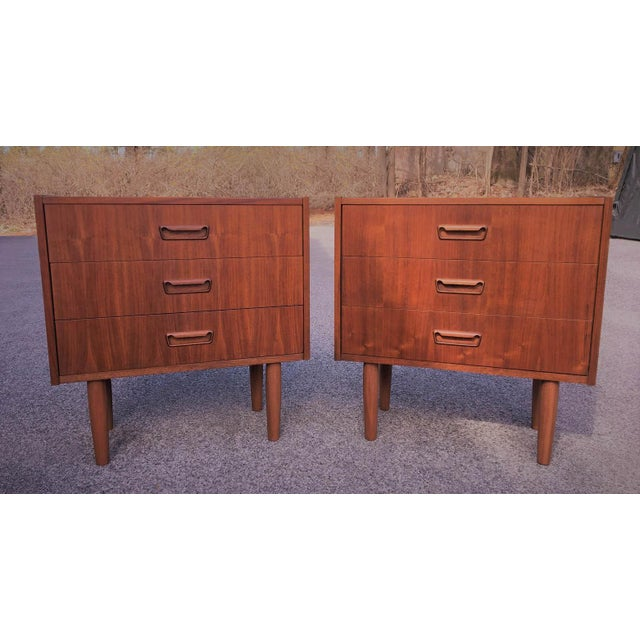 Mid Century Modern Danish Mobler Teak Pair of Nightstands End Table Set From the 1960's Made in Denmark Nightstands are in...