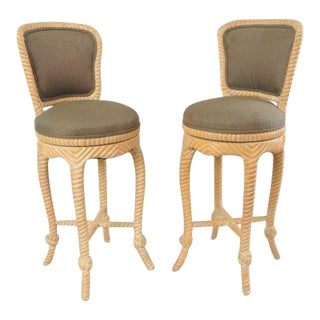Pair of Italian Carved Wood Rope & Tassel Swivel Bar Stools Chairs Barstools Vintage For Sale