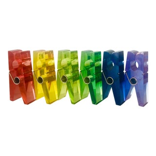 Rainbow Giant Lucite Pop Art Clothespins - Set of 6 For Sale