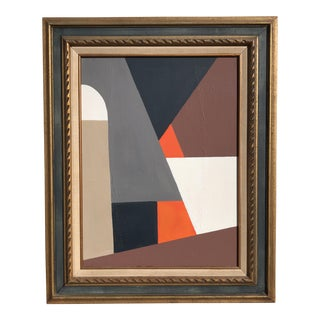 Large Framed Abstract Geometric Painting