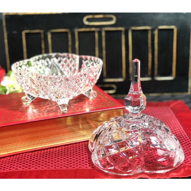 English Late 20th Century Vintage Crystal Footed Candy Dish For Sale - Image 3 of 10