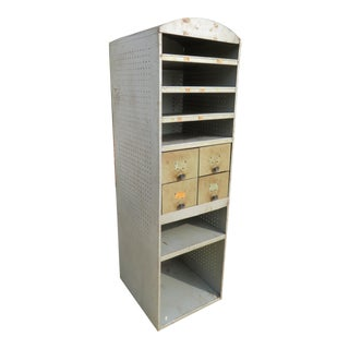 Industrial Ludwig Drum Parts Metal Display Cabinet For Sale