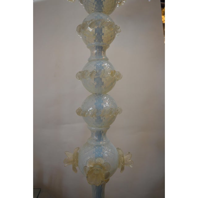 Gold Murano Opaline Glass Floor Lamp For Sale - Image 8 of 10