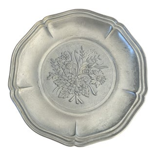 Mid 20th Century Pewter Wall Plate For Sale
